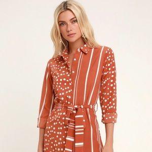 Lulus burnt orange and white dress